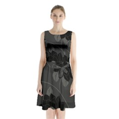 Flower Floral Rose Black Lola Flock Sleeveless Chiffon Waist Tie Dress by Mariart