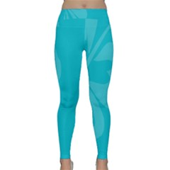 Hibiscus Sakura Scuba Blue Classic Yoga Leggings by Mariart