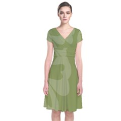 Hibiscus Sakura Woodbine Green Short Sleeve Front Wrap Dress by Mariart
