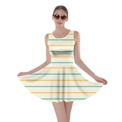 Horizontal Line Yellow Blue Orange Skater Dress by Mariart