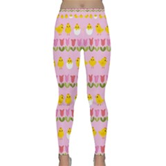 Easter - Chick And Tulips Classic Yoga Leggings by Valentinaart