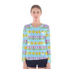 Easter   Chick And Tulips Women s Long Sleeve Tee by Valentinaart