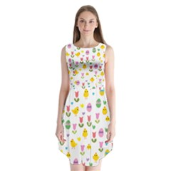 Easter   Chick And Tulips Sleeveless Chiffon Dress   by Valentinaart
