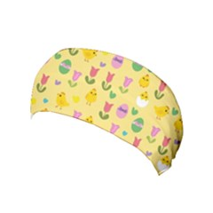 Easter - Chick And Tulips Yoga Headband by Valentinaart