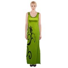 Illustration Wallpaper Barbusak Leaf Green Maxi Thigh Split Dress