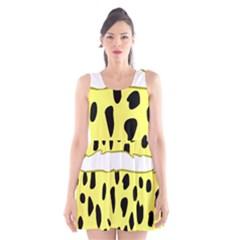 Leopard Polka Dot Yellow Black Scoop Neck Skater Dress by Mariart