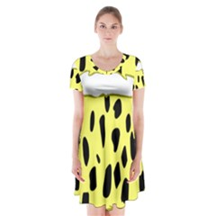 Leopard Polka Dot Yellow Black Short Sleeve V Neck Flare Dress by Mariart