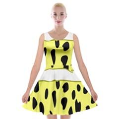 Leopard Polka Dot Yellow Black Velvet Skater Dress by Mariart