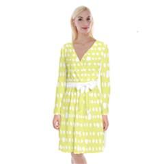 Polkadot White Yellow Long Sleeve Velvet Front Wrap Dress by Mariart