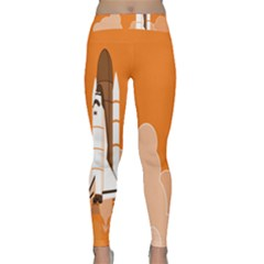 Rocket Space Ship Orange Classic Yoga Leggings by Mariart