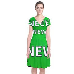New Icon Sign Short Sleeve Front Wrap Dress by Mariart