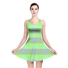 Squares Triangel Green Yellow Blue Reversible Skater Dress
