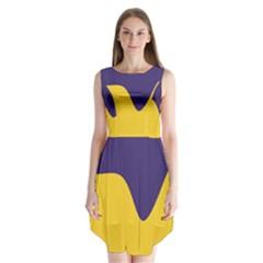 Purple Yellow Wave Sleeveless Chiffon Dress   by Mariart
