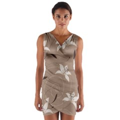 Star Flower Floral Grey Leaf Wrap Front Bodycon Dress by Mariart