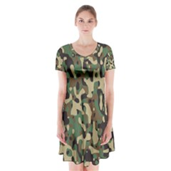 Army Camouflage Short Sleeve V Neck Flare Dress by Mariart