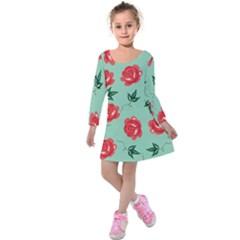 Red Floral Roses Pattern Wallpaper Background Seamless Illustration Kids  Long Sleeve Velvet Dress by Nexatart