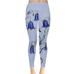 Floral Blue Bluebell Flowers Watercolor Painting Leggings  by Nexatart