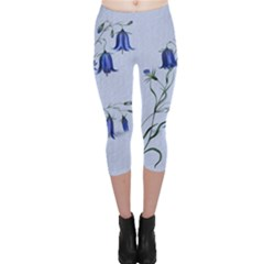 Floral Blue Bluebell Flowers Watercolor Painting Capri Leggings  by Nexatart