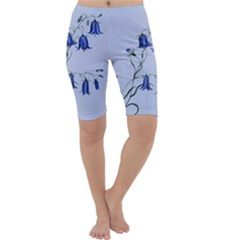 Floral Blue Bluebell Flowers Watercolor Painting Cropped Leggings  by Nexatart