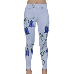 Floral Blue Bluebell Flowers Watercolor Painting Classic Yoga Leggings by Nexatart