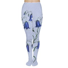 Floral Blue Bluebell Flowers Watercolor Painting Women s Tights by Nexatart