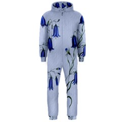 Floral Blue Bluebell Flowers Watercolor Painting Hooded Jumpsuit (men)  by Nexatart
