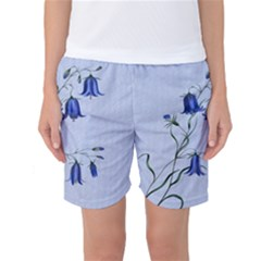 Floral Blue Bluebell Flowers Watercolor Painting Women s Basketball Shorts by Nexatart