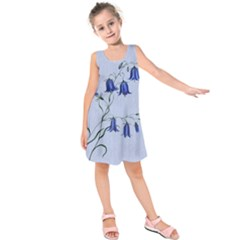 Floral Blue Bluebell Flowers Watercolor Painting Kids  Sleeveless Dress by Nexatart