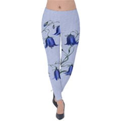 Floral Blue Bluebell Flowers Watercolor Painting Velvet Leggings by Nexatart