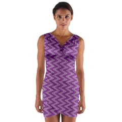 Purple Zig Zag Pattern Background Wallpaper Wrap Front Bodycon Dress by Nexatart