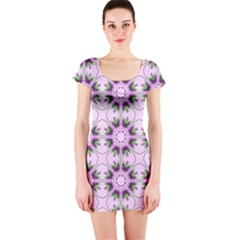 Pretty Pink Floral Purple Seamless Wallpaper Background Short Sleeve Bodycon Dress