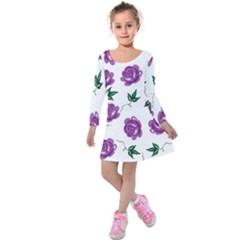 Purple Roses Pattern Wallpaper Background Seamless Design Illustration Kids  Long Sleeve Velvet Dress by Nexatart