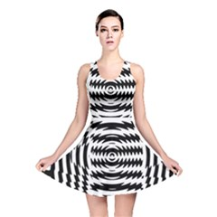Black And White Abstract Stripped Geometric Background Reversible Skater Dress by Nexatart