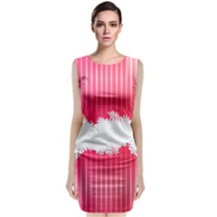 Digitally Designed Pink Stripe Background With Flowers And White Copyspace Classic Sleeveless Midi Dress by Nexatart