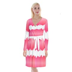 Digitally Designed Pink Stripe Background With Flowers And White Copyspace Long Sleeve Velvet Front Wrap Dress by Nexatart