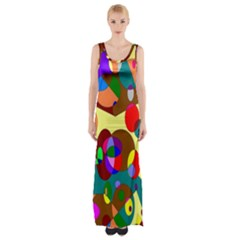 Abstract Digital Circle Computer Graphic Maxi Thigh Split Dress