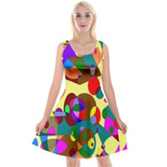 Abstract Digital Circle Computer Graphic Reversible Velvet Sleeveless Dress by Nexatart