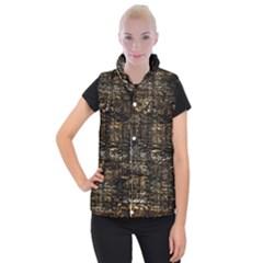 Wood Texture Dark Background Pattern Women s Button Up Puffer Vest by Nexatart