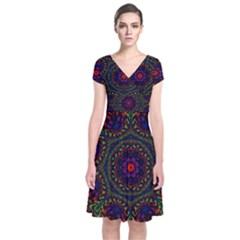 Rainbow Kaleidoscope Short Sleeve Front Wrap Dress by Nexatart