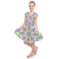 Rainbow Kaleidoscope Kids  Short Sleeve Dress by Nexatart
