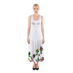 Floral Border Cartoon Flower Doodle Sleeveless Maxi Dress