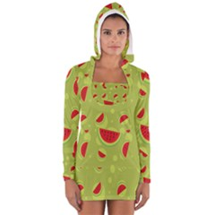 Watermelon Fruit Patterns Women s Long Sleeve Hooded T Shirt by Onesevenart