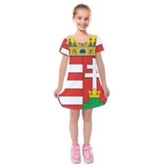 Medieval Coat Of Arms Of Hungary  Kids  Short Sleeve Velvet Dress by abbeyz71
