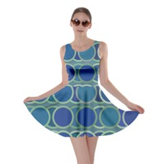 Circles Abstract Blue Pattern Skater Dress