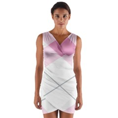 Tablecloth Stripes Diamonds Pink Wrap Front Bodycon Dress by Nexatart