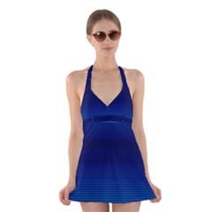 Blue Dot Halter Swimsuit Dress by PhotoNOLA