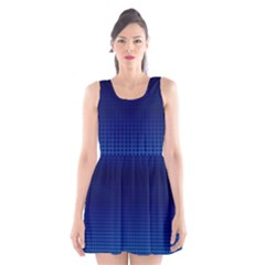 Blue Dot Scoop Neck Skater Dress by PhotoNOLA