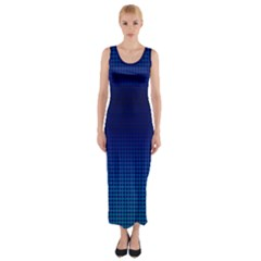 Blue Dot Fitted Maxi Dress by PhotoNOLA