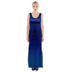 Blue Dot Maxi Thigh Split Dress by PhotoNOLA