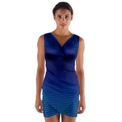 Blue Dot Wrap Front Bodycon Dress by PhotoNOLA